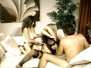 Steamy Antique Pornography With Two Curvy Honeys Fucking In Threesome