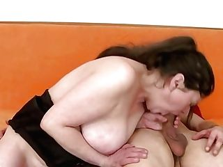 Obese Retro Brown-haired In Fishnet Stockings Masturbates Twat And Deep Throats Trouser Snake